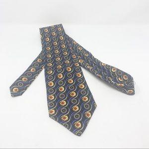 Robert Talbott NWT black blue geo print tie
